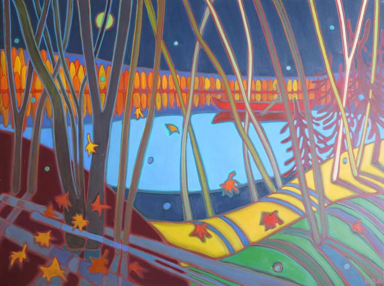 Autumn Colours - Midnight Canoe Ride 40 x 30 - Darlene Kulig