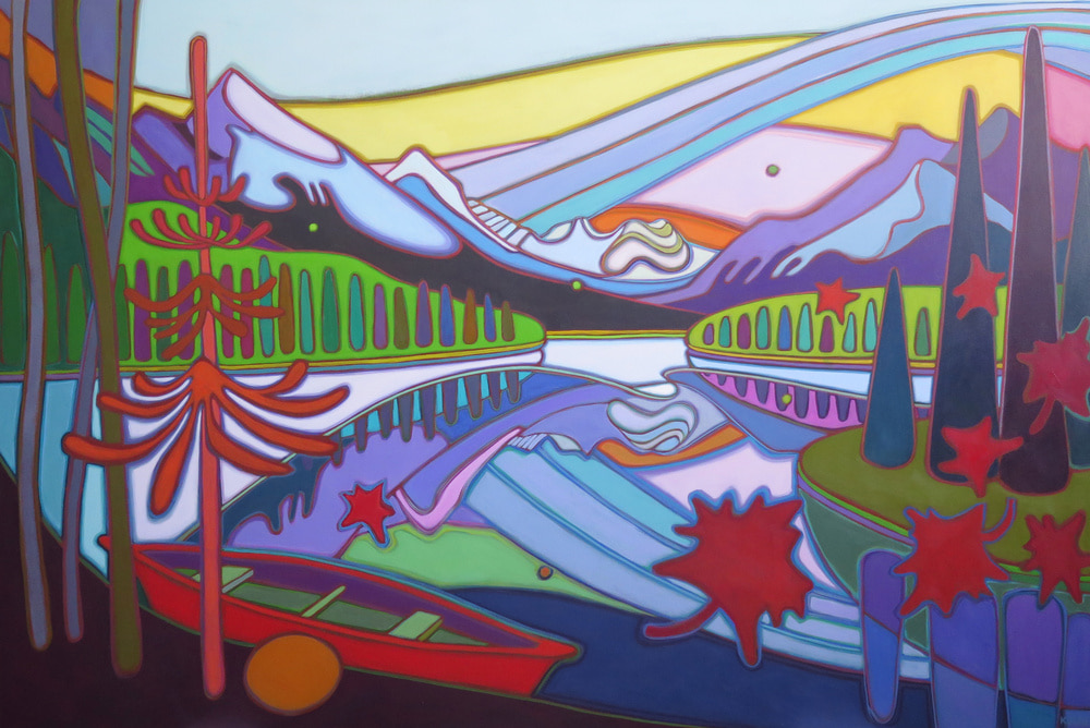 Canadian Rockies - Canoe Resting in Rainbow Reflections 40 x 60 - Darlene Kulig