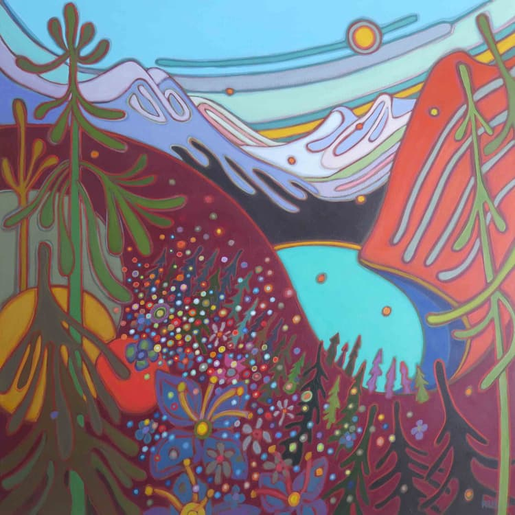 Canadian Rockies - Emerald Lake with Snow Topped Mountains and Wild Flowers 36 x 36 - Darlene Kulig