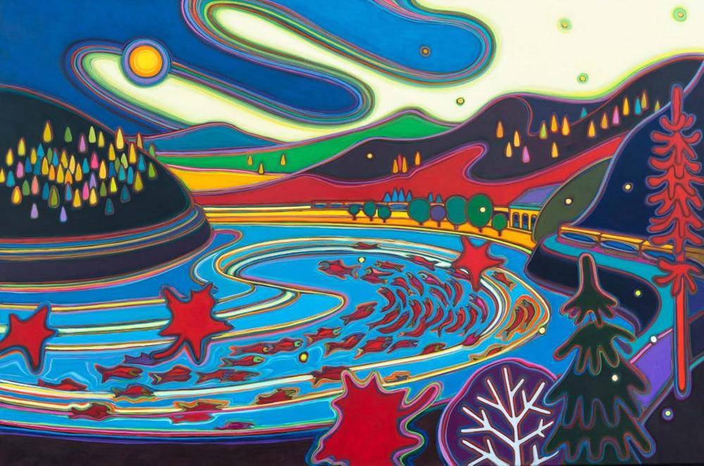 Canadian Rockies - Salmon Running 40 x 60 - Darlene Kulig
