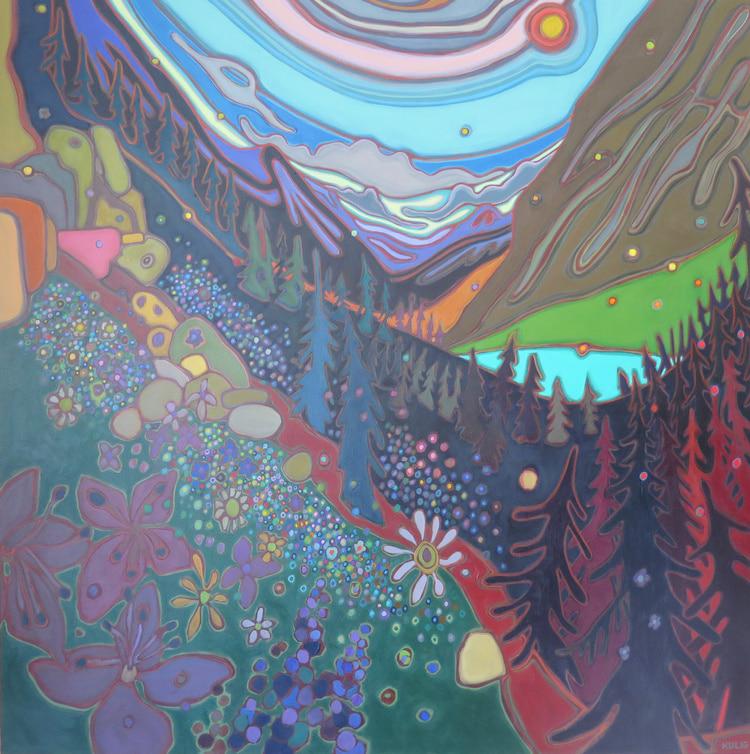 Canadian Rockies - Wildflowers and Emerald Lake Alberta 48 x 48 - Darlene Kulig
