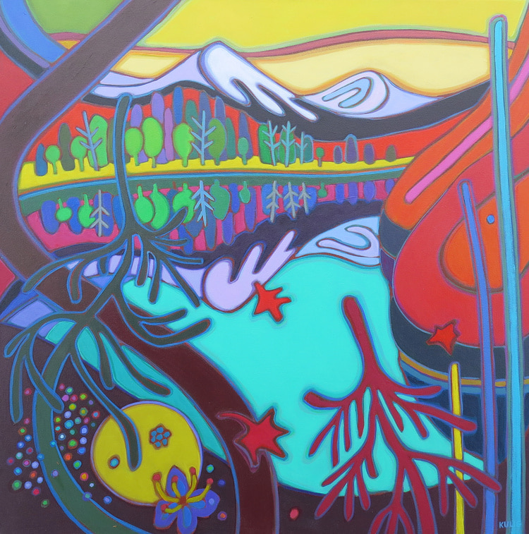 Canadian Rockies - Yellow Dawn Lavender Mountaintops and Wildflowers 30 x 30 - Darlene Kulig