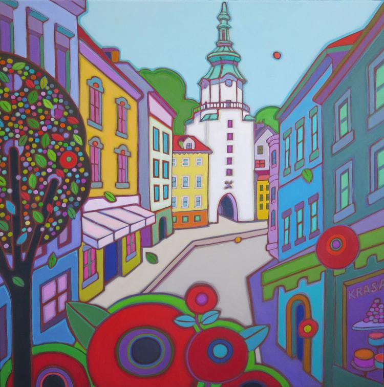 Europe - Bratislava Old City Walk 36 x 36 - Darlene Kulig