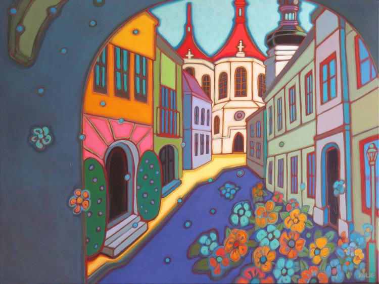 Europe - Prague Sunlit Church 30 x 40 - Darlene Kulig