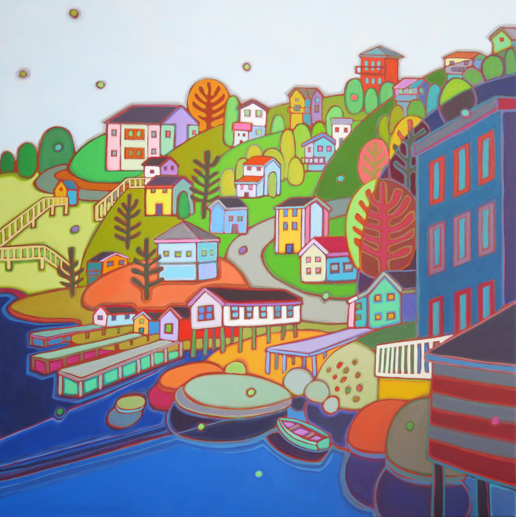 Newfoundland - Jelly Bean Hill St Johns 36 x 36 - Darlene Kulig