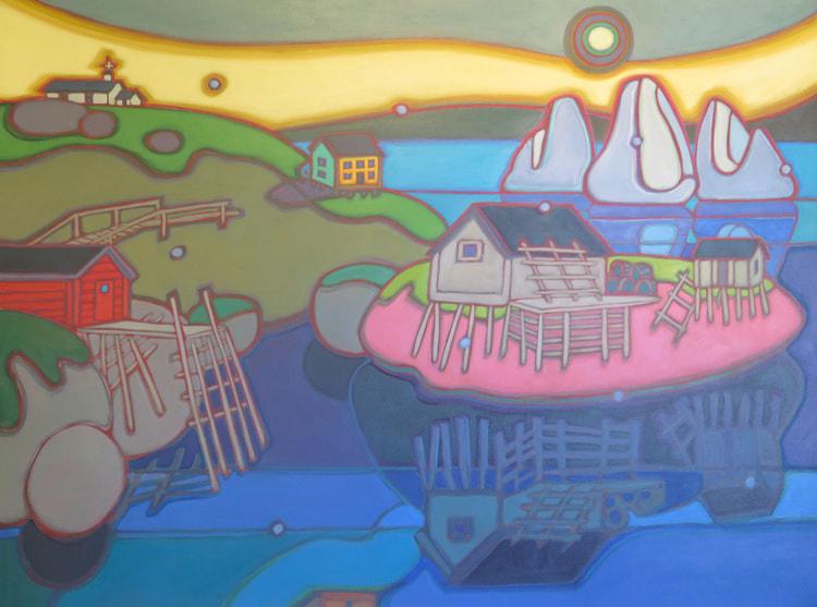 Newfoundland - Little Fogo Island Reflections of Days Gone By 30 x 40 - Darlene Kulig