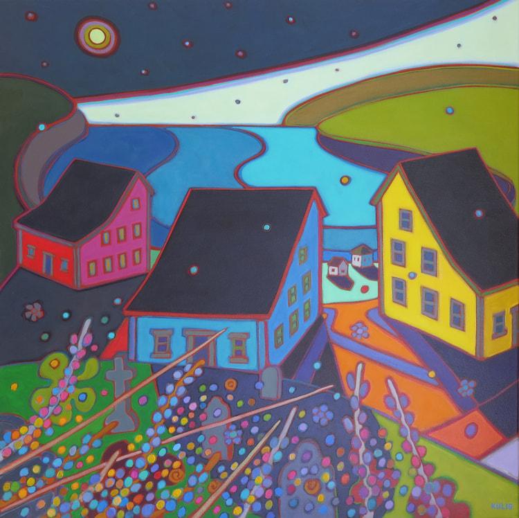 Newfoundland - Moon Rising above Port Rexton 36 x 36 - Darlene Kulig