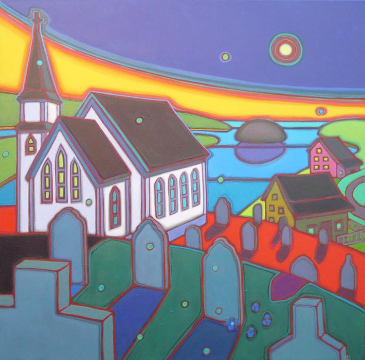 Newfoundland - Port Rexton Midnight Calm 36 x 36 - Darlene Kulig