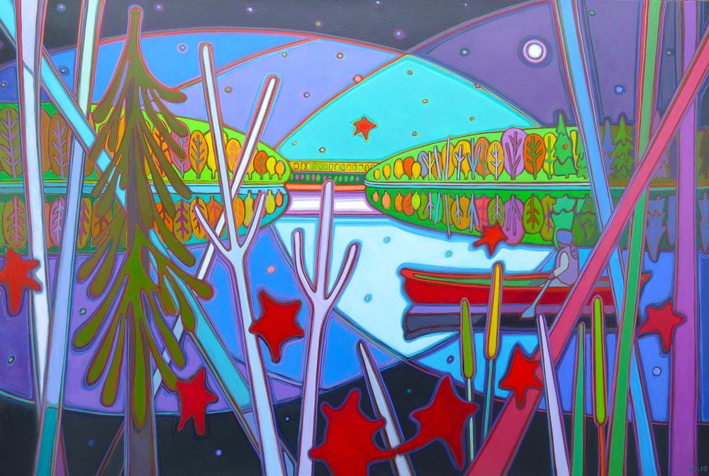 Northern Lights - Canoe Ride Midnight Moonlight Magic 40 x 60 - Darlene Kulig