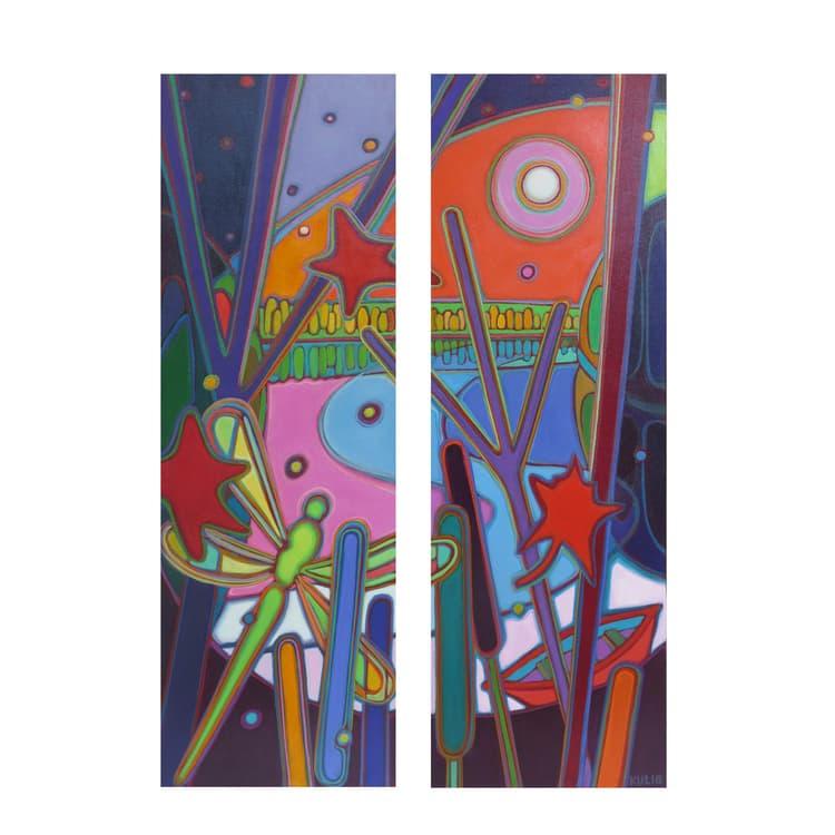 Northern Lights - Dragonfly Ascending Diptych - Darlene Kulig