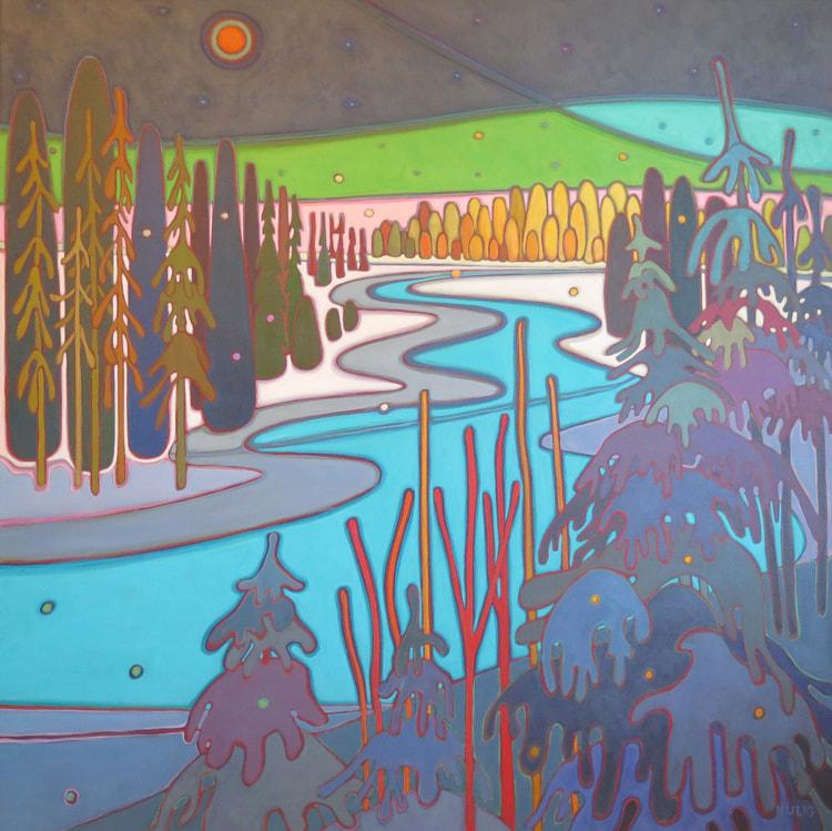 Northern Lights - Moon River with Northern Lights 48 x 48 - Darlene Kulig