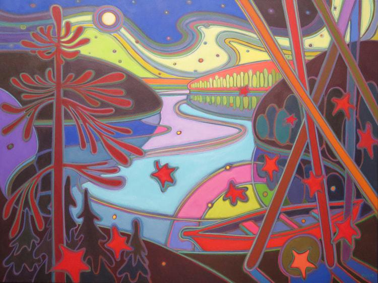 Northern Lights - Red Canoe in Moonlight Glow 36 x 48 - Darlene Kulig