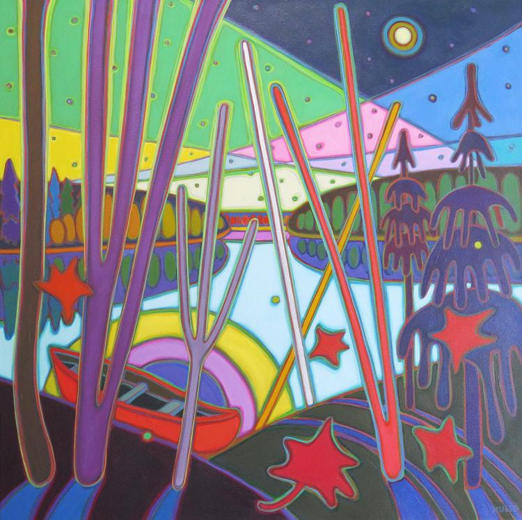 Northern Lights - Resting Canoe in Moonlight Reflection 36 x 36 - Darlene Kulig