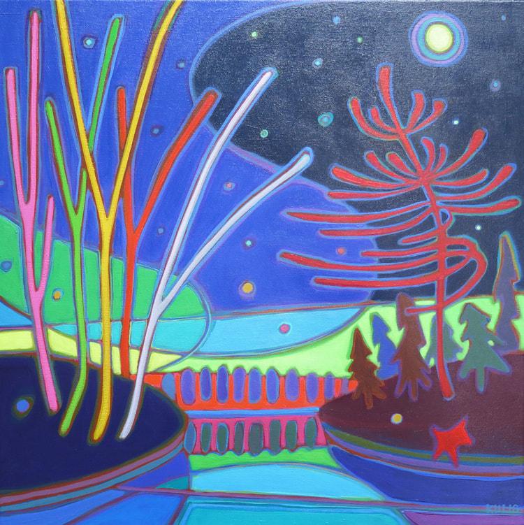 Northern Lights - Starry Night Lights 16 x 16 - Darlene Kulig