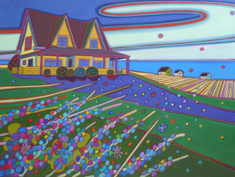 Prince Edward Island - Yellow House Striped Fields and Lupins 40 x 30 - Darlene Kulig