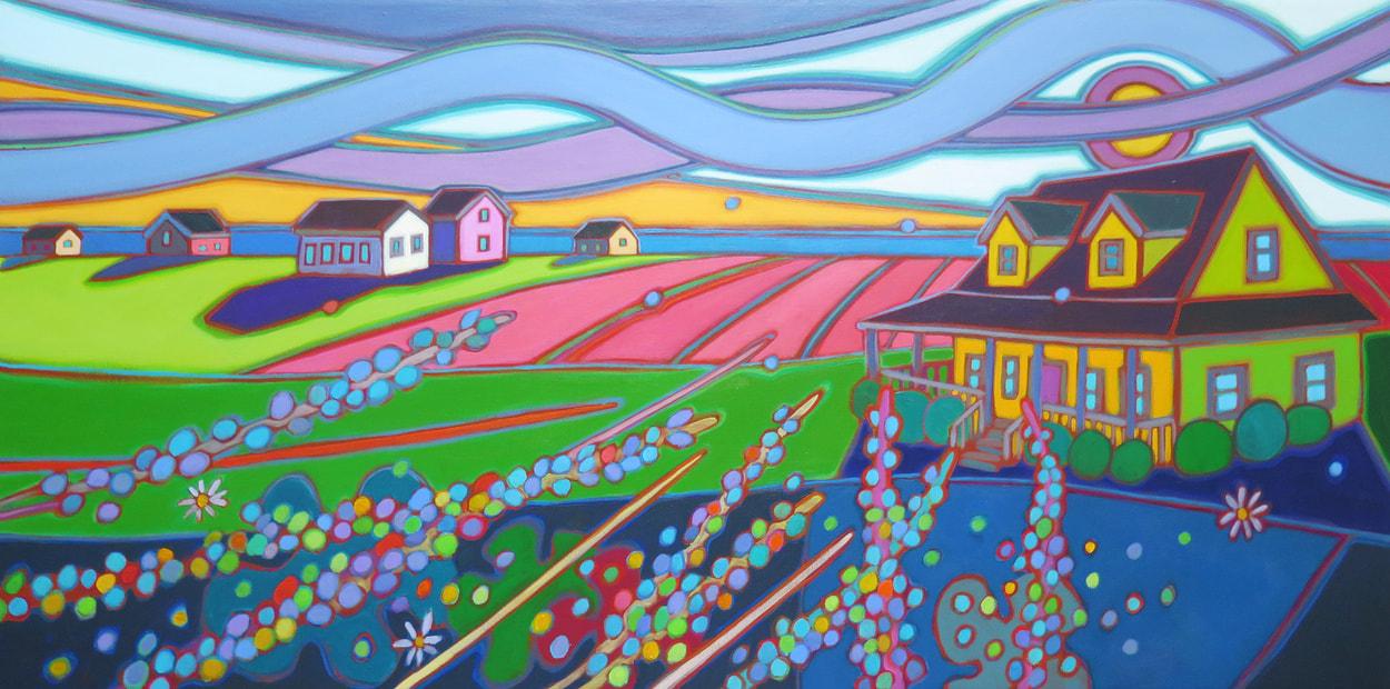 Prince Edward Island - Yellow House with Farmers Field and Lupins 24 x 48 - Darlene Kulig