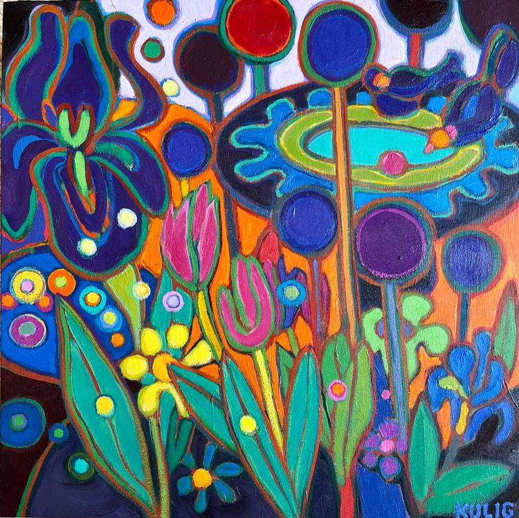 Small Canvases - Bird Bath Love 12 x 12 - Darlene Kulig