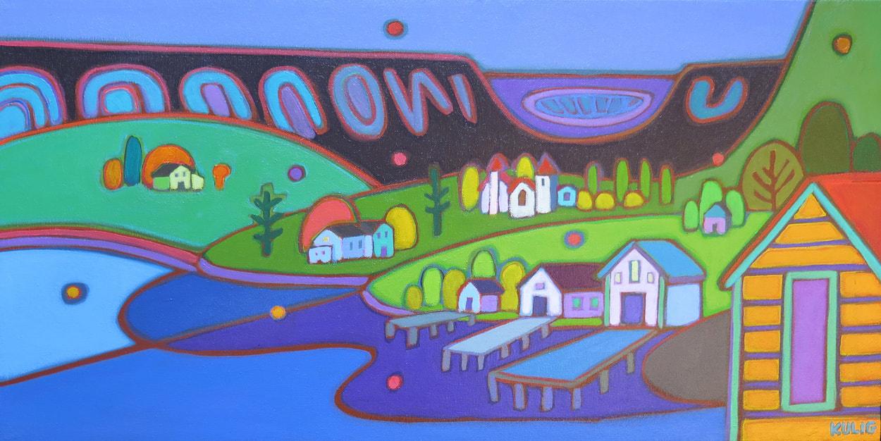 Small Canvases - Bonne Bay at Dusk 12 x 24 - Darlene Kulig