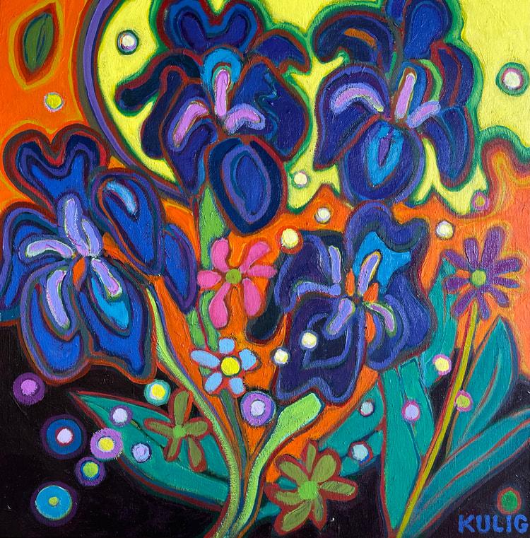 Small Canvases - Iris Inspiration 12 x 12 - Darlene Kulig