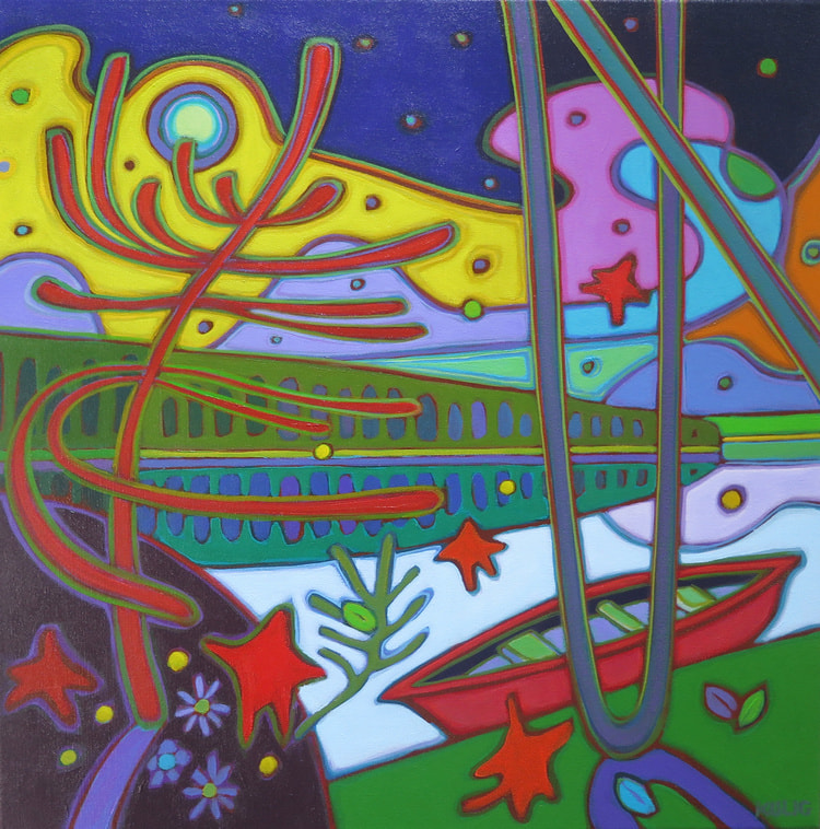 Small Canvases - Northern Lights on Georgian Bay 20 x 20 - Darlene Kulig