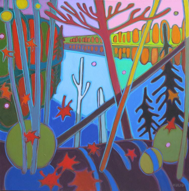 Small Canvases - Pink Sky over Big Doe Lake 24 x 24 - Darlene Kulig