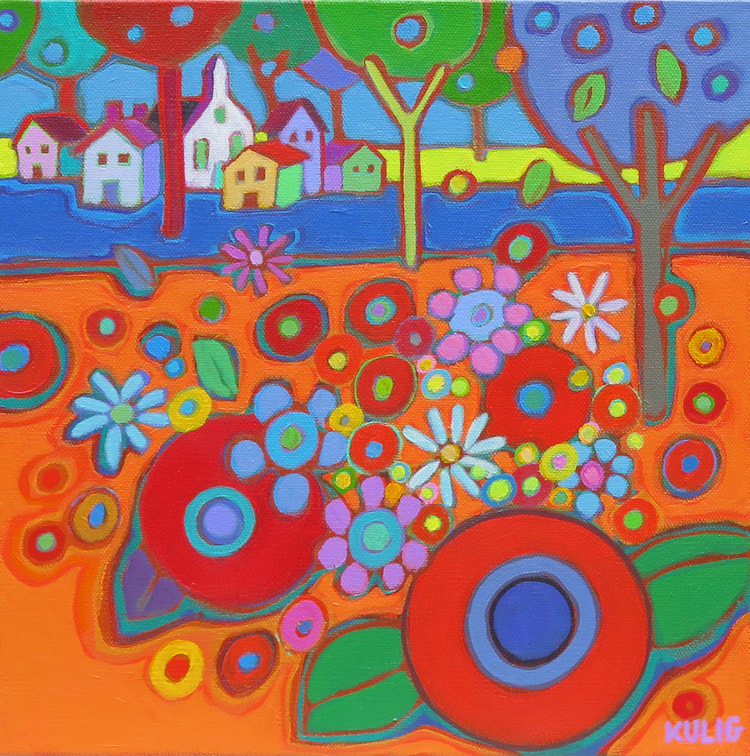 Small Canvases - Village along the Flowerfields 12 x 12 - Darlene Kulig