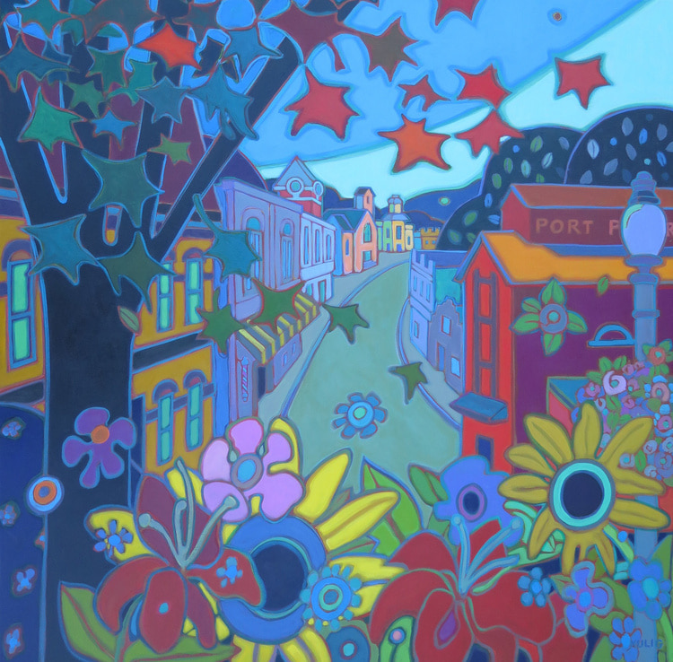 Small Towns and Villages - Port Perry Late Summer Blooms 36 x 36 - Darlene Kulig