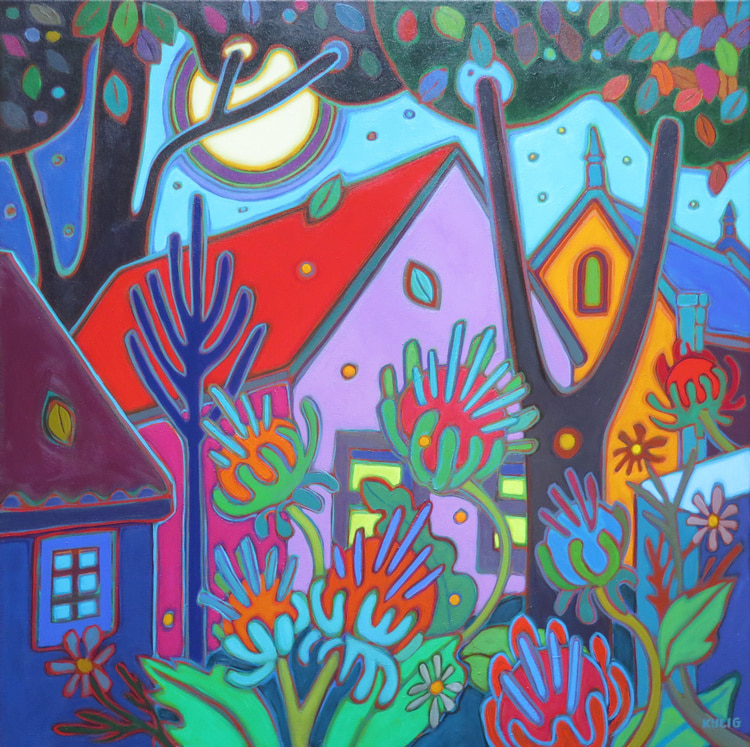 Small Towns and Villages - Super Moonon Giant Thistles 30 x 30 - Darlene Kulig