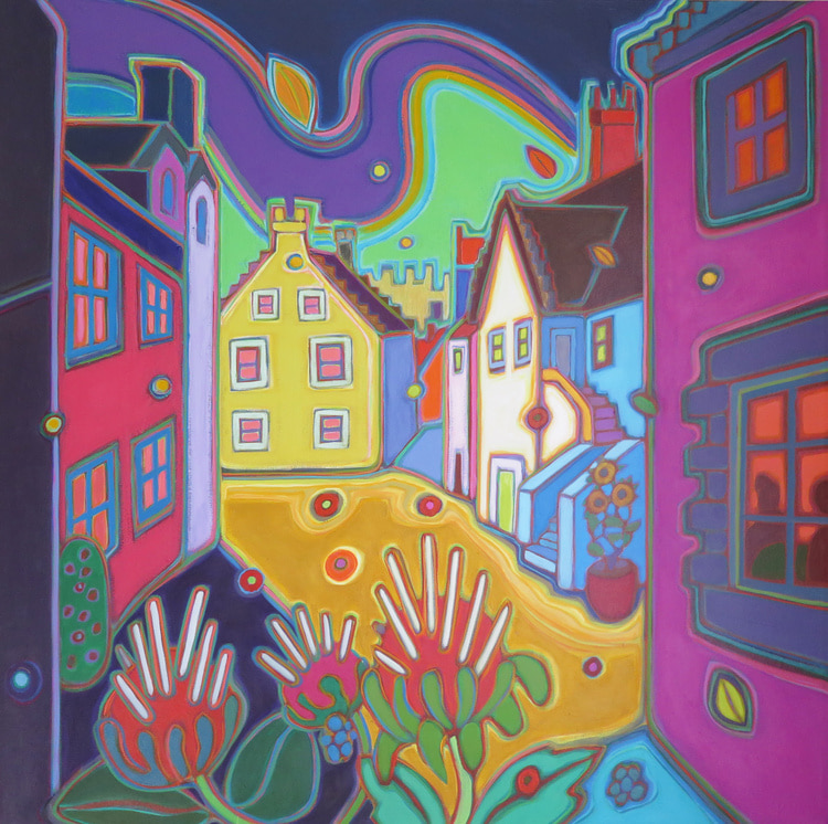 Small Towns and Villages - Teatime in the Quiet Suburbs 30 x 30 - Darlene Kulig