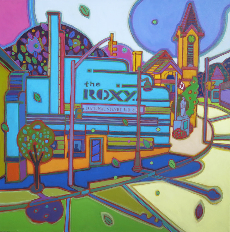 Small Towns and Villages - The Roxy 30 x 30 - Darlene Kulig
