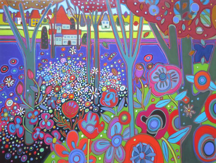 Vienna - Flowerfields in the Countryside 36 x 48 - Darlene Kulig
