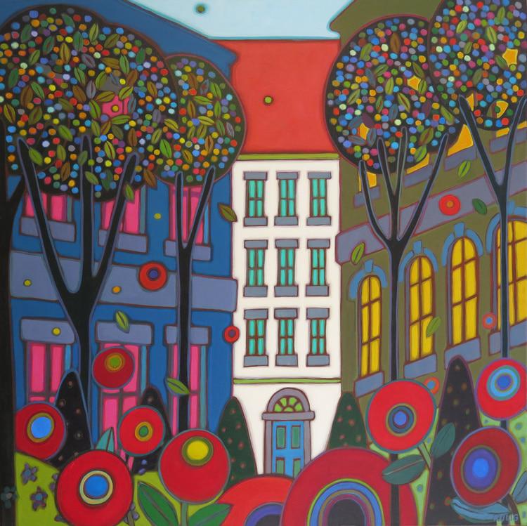 Vienna - Vienna Red Roof 36 x 36 - Darlene Kulig