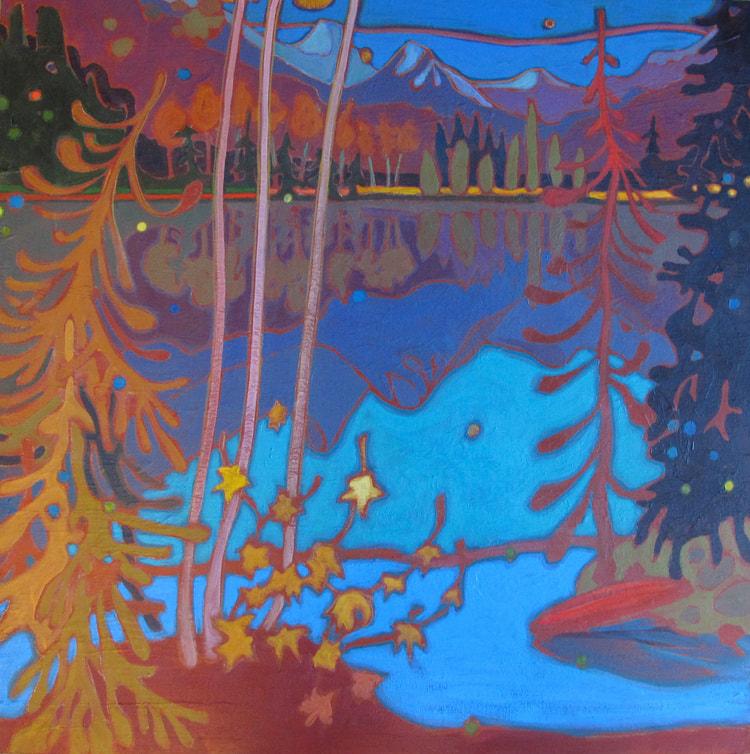 Whistler - Red Canoe 30 x 30 - Darlene Kulig