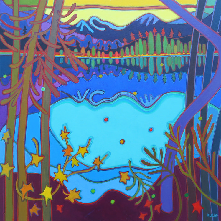 Whistler - Sunset Glow across Turquoise Lake 30 x 30 - Darlene Kulig