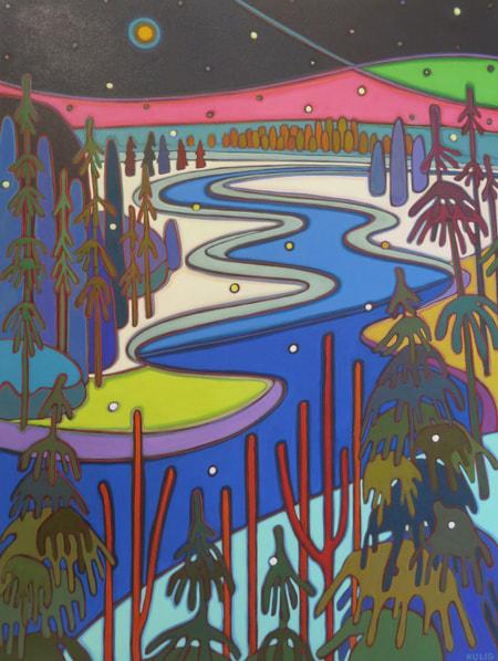 Winter Wonderland - Moon River Pink Sky 48 x 36 - Darlene Kulig
