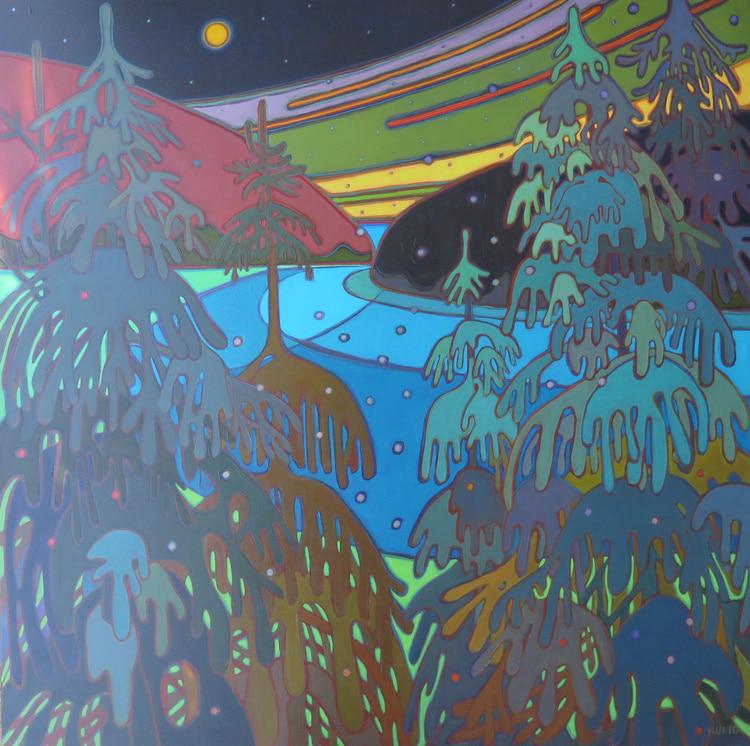 Winter Wonderland - Moonlit Bay 48 x 48 - Darlene Kulig