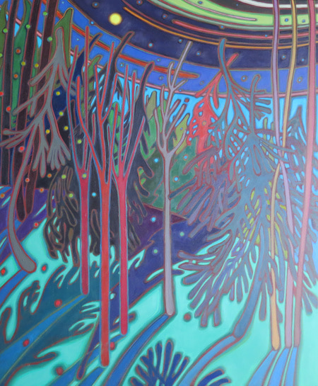 Winter Wonderland - Moonlit WInter Night 30 x 36 - Darlene Kulig