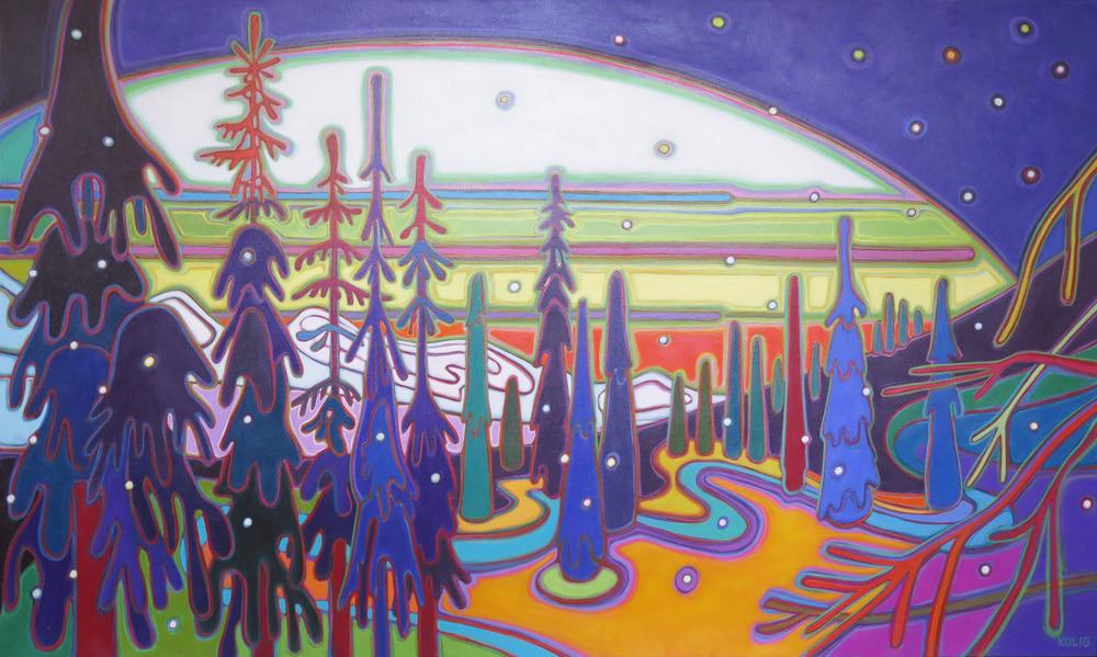 Winter Wonderland - Snow Gently Falling 36 x 60 - Darlene Kulig
