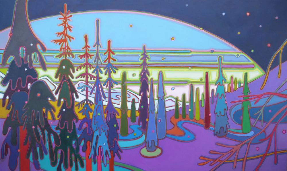 Winter Wonderland - Sunset at Silverstar 36 x 60 - Darlene Kulig