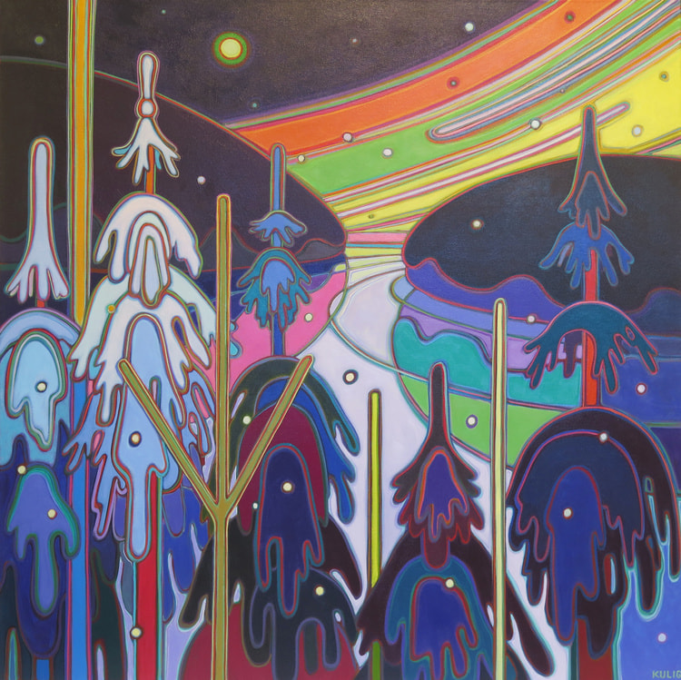 Winter Wonderland - Winter Wonderland Midnight Calm 48 x 48 - Darlene Kulig
