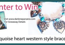 Turquoise heart western style bracelet giveaway