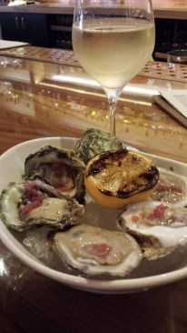 Oysters and wine, a girl has to spoil herself from time to time.