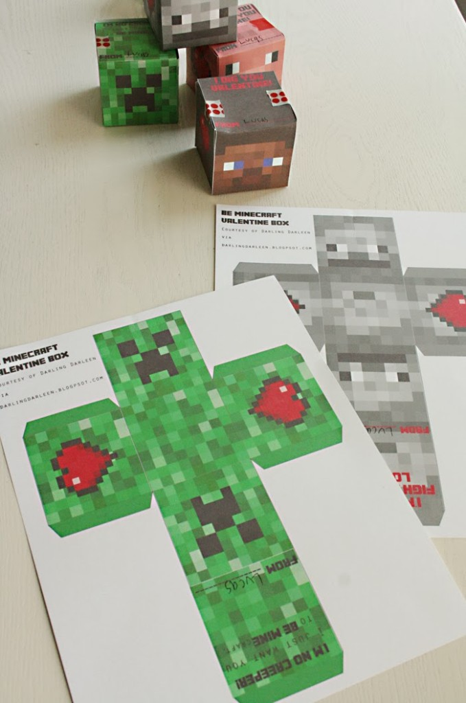 photo relating to Minecraft Valentine Box Printable called Minecraft Valentine 3-D Dice Box - Darling Darleen A