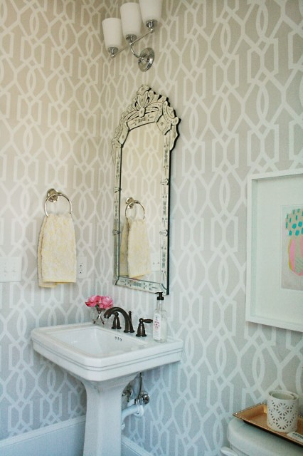 guest bathroom, powder room, venetian mirror