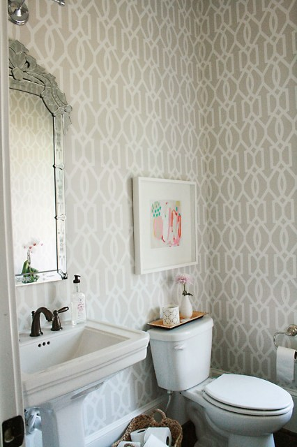guest bathroom, powder room, wallpaper, venetian mirror, bathroom with window