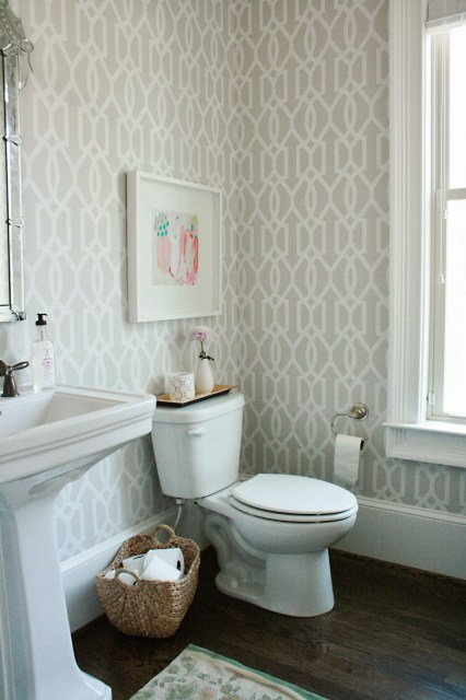 guest bathroom, powder room, wallpaper, window