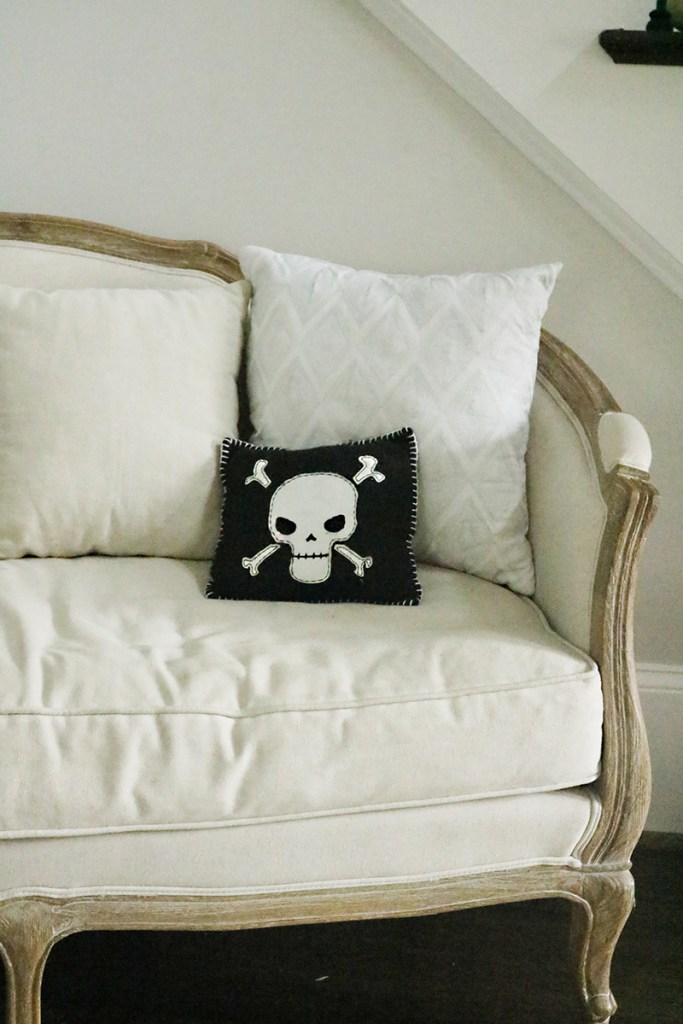 modern halloween decorations black and white pillow