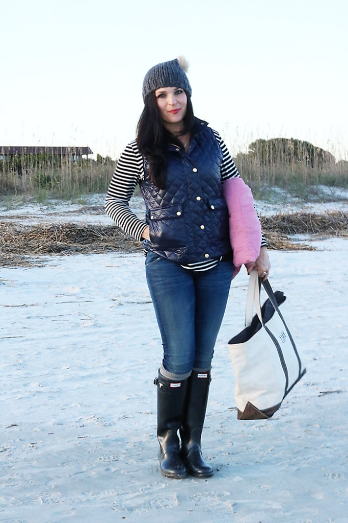 beach outfit in fall or winter vest