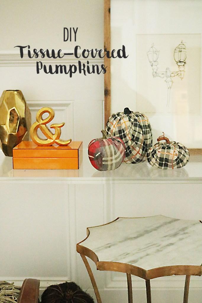 pumpkin decorating craft diy with tissue paper