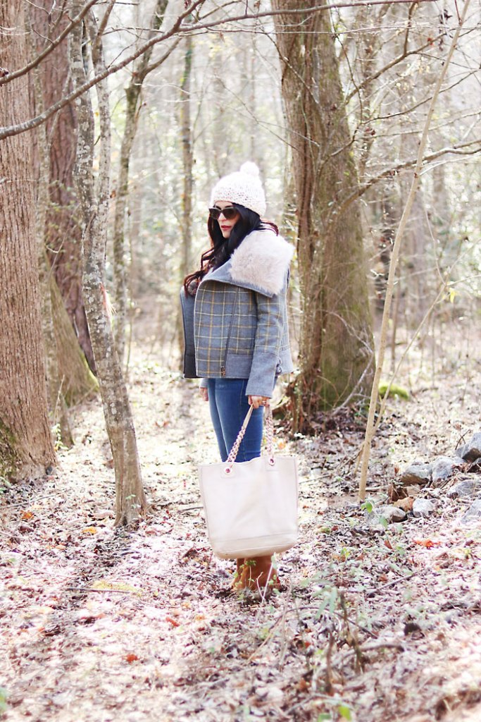 plaid-fur-coat-and-white-beanie-hat
